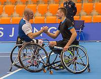 Rotterdam, Netherlands, December 14, 2016, Topsportcentrum, Lotto NK Tennis, Wheelchair, winners doubles: Maikel Scheffers (L) and Ruben Spaargaren.  <br /> Photo: Tennisimages/Henk Koster