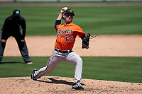 Baltimore Orioles pitcher Morgan McSweeney (67) during a Minor League Spring Training game against the Detroit Tigers on April 14, 2021 at Joker Marchant Stadium in Lakeland, Florida.  (Mike Janes/Four Seam Images)