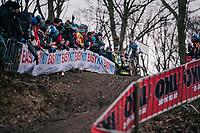 defending World Champion Wout Van Aert (BEL/Crelan-Charles) comfortibly leading the race<br /> <br /> Elite Men's Race<br /> 2018 CX World Championships<br /> Valkenburg - The Netherlands