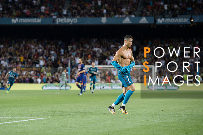Cristiano Ronaldo of Real Madrid celebrating after scores his goal during the Supercopa de Espana Final 1st Leg match between FC Barcelona and Real Madrid at Camp Nou on August 13, 2017 in Barcelona, Spain. Photo by Marcio Rodrigo Machado / Power Sport Images