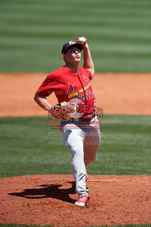 Palm Beach Cardinals relief pitcher Jacob Evans (25) delivers a pitch during a game against the Charlotte Stone Crabs on April 12, 2017 at Charlotte Sports Park in Port Charlotte, Florida.  Palm Beach defeated Charlotte 8-7 in ten innings.  (Mike Janes/Four Seam Images)