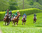 Decoy Daddy, with Ross Geraghty in the yellow cap, flies downhill along Route 52 with Faction at his flank in the Middletown Cup.