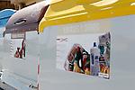 Viana.Navarra.Espana.Viana.Navarra.Spain.Contenedores de recogida selectiva de basuras. Marron, residuos organicos. Amarillo, envases..Containers of garbage collection. Brown, organic waste. Yellow, containers..(ALTERPHOTOS/Alfaqui/Acero)