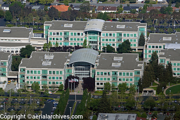 aerial photograph of the Apple Campus, Cupertino, Santa Clara county, California; the Apple Campus was Apple's corporate headquarters from 1993-2017.
