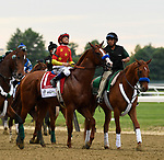Elmont, NY - JUNE 09: #1, Justify, with Jockey Mike Smith aboard for Trainer Bob Baffert appearing grateful for clear skies before the 150th running of the Belmont Stakes at Belmont Park on June 9, 2018 in Elmont, New York. (Photo by Carson Dennis/Eclipse Sportswire/Getty Images)
