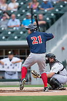 Chris Marrero (21) of the Pawtucket Red Sox at bat against the Charlotte Knights at BB&T BallPark on July 6, 2016 in Charlotte, North Carolina.  The Knights defeated the Red Sox 8-6.  (Brian Westerholt/Four Seam Images)