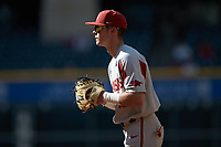 Arkansas Razorbacks first baseman Cole Austin (16) on defense against the Oklahoma Sooners in game two of the 2020 Shriners Hospitals for Children College Classic at Minute Maid Park on February 28, 2020 in Houston, Texas. The Sooners defeated the Razorbacks 6-3. (Brian Westerholt/Four Seam Images)