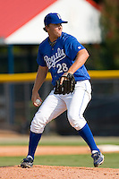 Relief pitcher Brett Richardson #28 of the Burlington Royals in action versus the Pulaski Mariners at Burlington Athletic Park August 6, 2009 in Burlington, North Carolina. (Photo by Brian Westerholt / Four Seam Images)