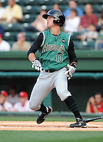 Outfielder Nick Liles (10) of the Augusta GreenJackets, Class A affiliate of the San Francisco Giants, in a game against the Greenville Drive on May 20, 2010, at Fluor Field at the West End in Greenville, S.C. Photo by: Tom Priddy/Four Seam Images