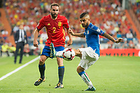 Spain's Daniel Carvajal and Italy's Lorenzo Insigne during match between Spain and Italy to clasification to World Cup 2018 at Santiago Bernabeu Stadium in Madrid, Spain September 02, 2017. (ALTERPHOTOS/Borja B.Hojas)