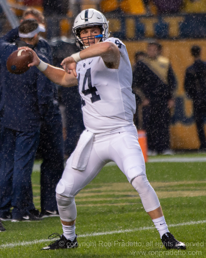 Penn State quarterback Sean Clifford. The Penn State Nittany Lions defeated the Pitt Panthers 51-6 on September 08, 2018 at Heinz Field in Pittsburgh, Pennsylvania.