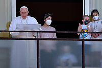 Pope Francis leads the Sunday's Angelus prayer from the Gemelli Hospital, in Rome, on July 11, 2021,pontiff underwent a surgery on his colon on Sunday and is recuperating at Rome's Gemelli hospital.