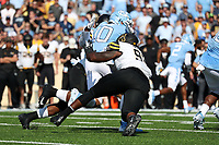 CHAPEL HILL, NC - SEPTEMBER 21: Jace Ruder #10 of the University of North Carolina is sacked by E.J. Scott #98 of Appalachian State University during a game between Appalachian State University and University of North Carolina at Kenan Memorial Stadium on September 21, 2019 in Chapel Hill, North Carolina.