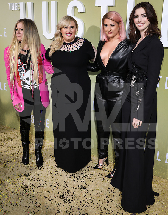 Avril Lavigne, Rebel Wilson, Meghan Trainor and Anne Hathaway arrive at the Los Angeles Premiere Of MGM's 'The Hustle' held at ArcLight Cinerama Dome on May 8, 2019 in Hollywood, Los Angeles, California, United States.