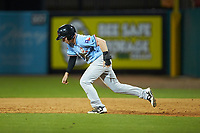 Jax Biggers (2) of the Hickory Crawdads takes off for second base during the game against the Ocelotes de Greensboro at First National Bank Field on June 11, 2019 in Greensboro, North Carolina. The Crawdads defeated the Ocelotes 2-1. (Brian Westerholt/Four Seam Images)