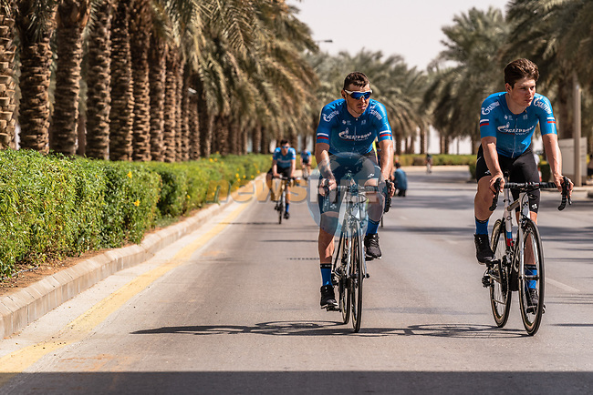 Team Gazprom-RusVelo before the start of Stage 5 of the Saudi Tour 2020 running 144km from Princess Nourah University to Al Masmak, Saudi Arabia. 8th February 2020. <br /> Picture: ASO/Kåre Dehlie Thorstad | Cyclefile<br /> All photos usage must carry mandatory copyright credit (© Cyclefile | ASO/Kåre Dehlie Thorstad)