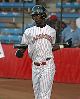 August 22, 2003:  Jai Miller of the Jamestown Jammers, Class-A affiliate of the Florida Marlins, during a NY-Penn League game at Russell Diethrick Park in Jamestown, NY.  Photo by:  Mike Janes/Four Seam Images