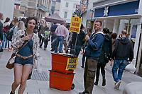 © Si Barber 07739 472 922<br /> Man selling selfie sticks in Cambridge city centre.