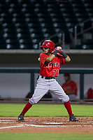AZL Angels center fielder Rayneldy Rosario (71) at bat against the AZL Cubs on August 31, 2017 at Sloan Park in Mesa, Arizona. AZL Cubs defeated the AZL Angels 9-2. (Zachary Lucy/Four Seam Images)