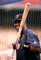 Joe Carter of the San Francisco Giants participates in a Major League Baseball game at Dodger Stadium during the 1998 season in Los Angeles, California. (Larry Goren/Four Seam Images)