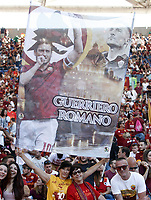 Calcio, Serie A: Roma, stadio Olimpico, 28 maggio 2017.<br /> Roma fans with a banner featuring Roma's Francesco Totti before the start the Italian Serie A football match between AS Roma and Genoa at Rome's Olympic stadium, May 28, 2017.<br /> Francesco Totti's final match with Roma after a 25-season career with his hometown club.<br /> UPDATE IMAGES PRESS/Isabella Bonotto