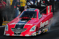 Jul. 23, 2011; Morrison, CO, USA: NHRA funny car driver Cruz Pedregon during qualifying for the Mile High Nationals at Bandimere Speedway. Mandatory Credit: Mark J. Rebilas-