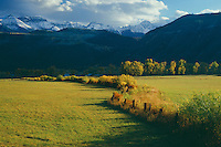 Sneffels Range<br />  from the Uncompahgre River Valley<br /> Uncompahgre National Forest,  San Juan Mountains<br /> Rocky Mountains,  Colorado