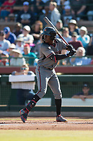 Salt River Rafters shortstop Jazz Chisholm (1), of the Arizona Diamondbacks organization, at bat during the Arizona Fall League Championship Game against the Peoria Javelinas at Scottsdale Stadium on November 17, 2018 in Scottsdale, Arizona. Peoria defeated Salt River 3-2 in 10 innings. (Zachary Lucy/Four Seam Images)