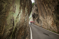 going up Sa Calobra between the magnificent steep rocks<br /> <br /> Lotto-Belisol jan 2014 trainingcamp<br /> Mallorca