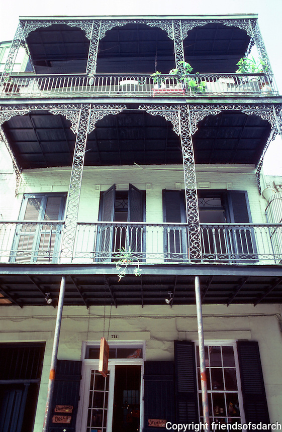 New Orleans:  714 Orleans St.--balconies with wrought-iron ornamentation.