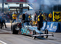 Oct 18, 2019; Ennis, TX, USA; NHRA top alcohol dragster driver Shane Conway during qualifying for the Fall Nationals at the Texas Motorplex. Mandatory Credit: Mark J. Rebilas-USA TODAY Sports