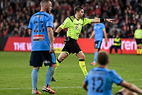1st May 2021; Bankwest Stadium, Parramatta, New South Wales, Australia; A League Football, Western Sydney Wanderers versus Sydney FC; referee Shaun Evans points to the penalty spot after Trent Buhagiar of Sydney is fouled by Graham Dorrans of Western Sydney Wanderers
