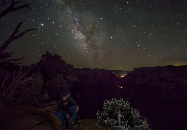 The Milky Way Galaxy appears over Zion National Park, Utah