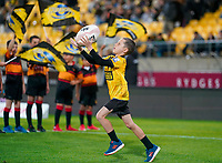 30th April 2021; Wellington, New Zealand; A mascot juggles a ball before the game.  Hurricanes versus  Highlanders, Super Rugby, Sky Stadium, Wellington New Zealand, Friday 30 April 2021.