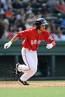Third baseman Carlos Asuaje (20) of the Greenville Drive in a game against the Lexington Legends on Sunday, April 27, 2014, at Fluor Field at the West End in Greenville, South Carolina. Greenville won, 21-6. (Tom Priddy/Four Seam Images)