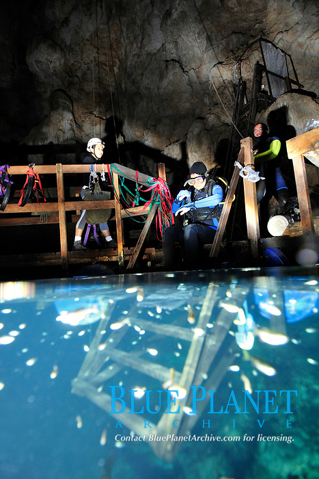 Scuba diver explores underwater cones in cave, Anhumas abyss, Bonito, Mato Grosso do Sul, Brazil