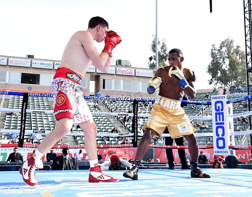 CARSON, CA - MAY 1: Erislandy Lara vs Thomas LaManna on the Fox Sports PBC fight night on May 1, 2021 at Dignity Health Sports Park in Carson, CA. (Photo by Frank Micelotta/Fox Sports/PictureGroup)