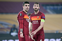 Gianluca Mancini and Bryan Cristante of AS Roma during the Europa League round of 32 2nd leg football match between AS Roma and Braga at stadio Olimpico in Rome (Italy), February, 25th, 2021. Photo Andrea Staccioli / Insidefoto