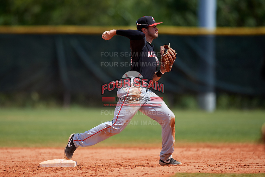 Ball State Cardinals second baseman Noah Navarro (8) throws to first base during a game against the Saint Joseph's Hawks on March 9, 2019 at North Charlotte Regional Park in Port Charlotte, Florida.  Ball State defeated Saint Joseph's 7-5.  (Mike Janes/Four Seam Images)
