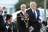 Pictured:  Malcolm Linton, Mayor of Newport arrives at Llandaff Cathedral, in Llandaff, Cardiff, Wales, UK. Sunday 11 November 2018<br /> Re: Commemoration for the 100 years since the end of the First World War on Remembrance Day at the Llandaff Cathedral, in Llandaff, Cardiff, Wales, UK.