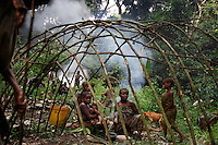 These folks all had shelter for the night in about two hours.  Women bend the branches to create a superstructures and then go off in the woods to get the right kind of leaves.  The Forest Hunting camps we hiked to are about 10k to the camp and then another 10K to where they string their nets.   Boys who are going thru the end of the circumcision ceremony called Kumbi accompanied the pygmies to the camp and were housed off to the side.  They were whipped every morning and then sent off into the forest to hunt or fish.