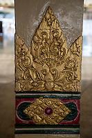 Yogyakarta, Java, Indonesia.  Lotus Flower Decoration on Column of the Great Mosque, Masjid Gedhe Kauman, mid-18th. Century.