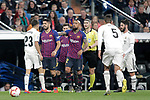 Real Madrid CF's Sergio Reguilon argues with  and FC Barcelona's Luis Suarez during La Liga match. March 02,2019. (ALTERPHOTOS/Alconada)
