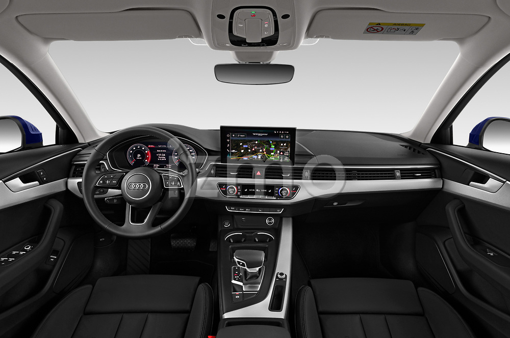Stock photo of straight dashboard view of a 2020 Audi A4 Advanced 4 Door Sedan