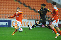Blackpool's Jerry Yates under pressure from Milton Keynes Dons' Louis Thompson<br /> <br /> Photographer Kevin Barnes/CameraSport<br /> <br /> The EFL Sky Bet League One - Blackpool v Milton Keynes Dons - Saturday 24 October 2020 - Bloomfield Road - Blackpool<br /> <br /> World Copyright © 2020 CameraSport. All rights reserved. 43 Linden Ave. Countesthorpe. Leicester. England. LE8 5PG - Tel: +44 (0) 116 277 4147 - admin@camerasport.com - www.camerasport.com