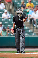 Umpire Roberto Ortiz during a game between the Columbus Clippers and Rochester Red Wings on June 16, 2016 at Frontier Field in Rochester, New York.  Rochester defeated Columbus 6-2.  (Mike Janes/Four Seam Images)