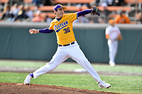 Western Illinois pitcher Parker Heidorf (36) delivers a pitch during a game against the University of Tennessee at Lindsey Nelson Stadium on February 15, 2020 in Knoxville, Tennessee. The Volunteers defeated Leathernecks 19-0. (Tony Farlow/Four Seam Images)