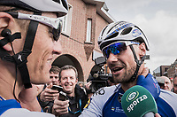 Tom Boonen (BEL/Quick-Step Floors) is hugged by teammate/race winner Marcel Kittel (GER/Quick Step Floors) after finishing Boonen's last ever (farewell) race on Belgian soil<br /> <br /> 105th Scheldeprijs 2017 (1.HC)<br /> 1 Day Race: Mol › Schoten (BEL/202km)