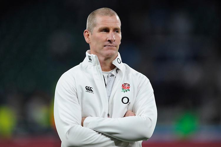 Stuart Lancaster, England Team Manager, looks on after the QBE International match between England and Australia at Twickenham Stadium on Saturday 29th November 2014 (Photo by Rob Munro)