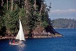 Vancouver Island, Barkley Sound, Sloop, Sailing single handed through the Broken Islands, Pacific Rim National Park, British Columbia, Canada,